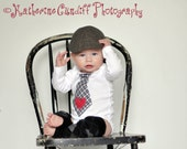 Baby Boy 1st First Valentine's Day Prop Red Heart Appliquéd on Any Tie Bodysuit.  Black & White Plaid Tie w Red Heart Love Mom Gift Gray