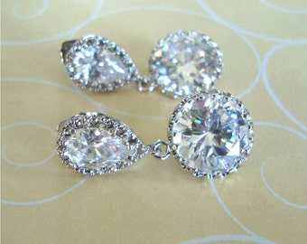 Bridal Earrings, Cubic zirconia, Post Earrings, Dangle Earrings, Bridal jewelry, Bridesmaid gift, Wedding Jewelry, Sparkly Earrings, prom