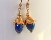 Lapis Lazuli  Flower Earrings in Gold Art Deco Art Nouveau Twenties Great Gatsby