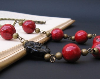 Red & Black Necklace - Salvaged Red Stone, Black Obsidian Carved Flower, Brass Accents and Brass Chain - by We Are 1