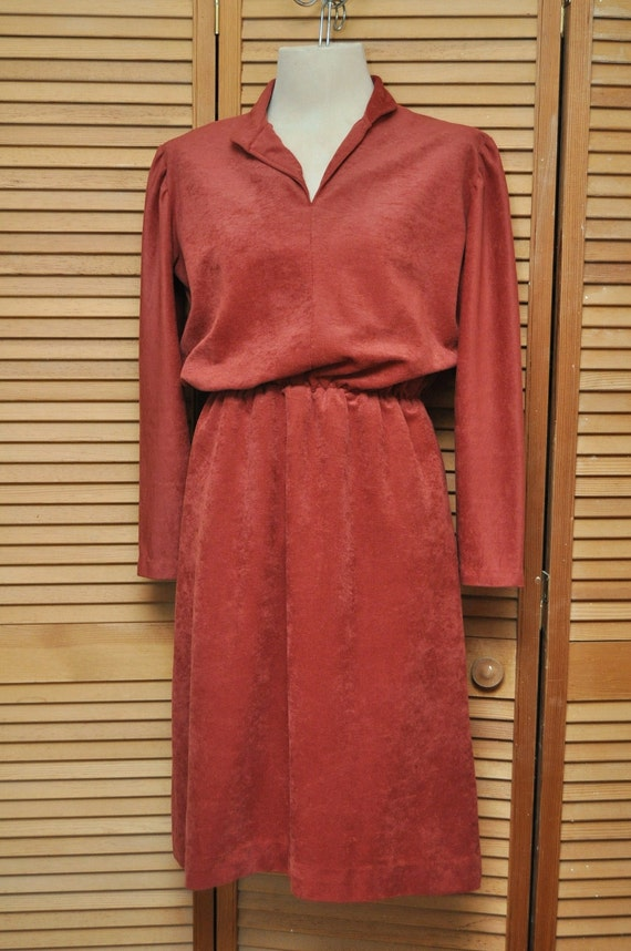 Vintage Dress 1970s Faux Suede or Velour Hippie Boho