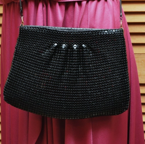 Vintage Disco Purse Cocktail Handbag In Shiny Black Mesh 70s 80s Style with Blacktone Chain Theatre Costume Rocker Disco Diva Animal Charity