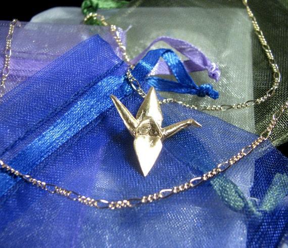 Origami Crane Pendant Gold over Sterling Silver