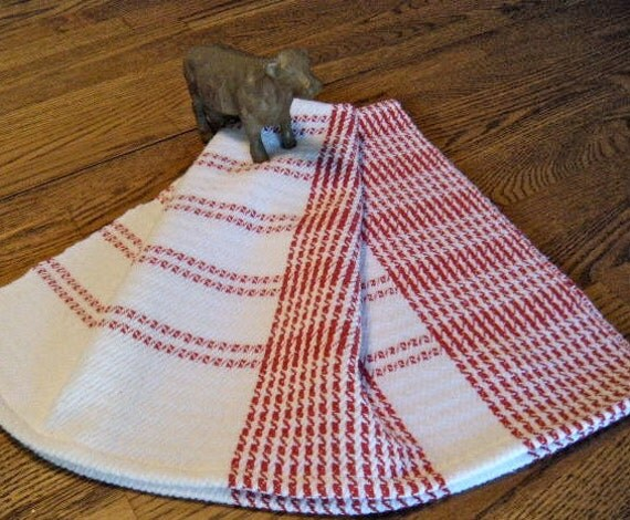 Handwoven cotton towel - Red and White Swedish Stripes, kitchen towel, tea towel, chef towel, hand towel