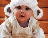 SALE 3 to 6m Baby Lamb Photo Prop Baby Hat, Farm Animal Beanie, White Lamb Hat, Sheep Hat, Baby Unisex Hat, Infant Lamb Baby Hat Shower Gift