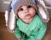 SALE 12 to 24m Baby Hat Bunny Hat Baby Boy Hat Blue Stripe Bunny Beanie, Boy Toddler Hat, Brown Blue Cream Rabbit Baby Photo Prop Halloween