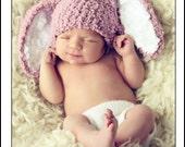 CIJ SALE 0 to 3m Newborn Baby Hat Bunny Hat, Newborn Girl Bunny Ears Prop, Newborn Hat, Crochet Baby Hat, Plum Bunny Costume