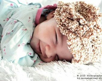 0 to 3m Newborn Girl Hat Brown Flower Flapper Hat Newborn Cloche Hat Baby Sun Hat Newborn Sun Hat Baby Hat Baby Shower Gift
