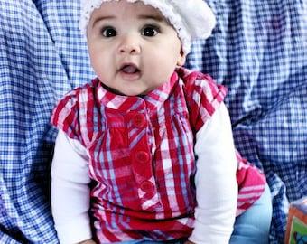 CIJ SALE 0 to 3m White Newborn Hat Baby Pom Pom Hat Girl Beret Hat Baby Shower Gift White Baby Hat Pom Pom Baby Hat Beret Photo Prop