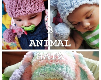 SALE 12 to 24m Animal Beanie Set Bunny Hat Kitten Hat Bear Hat - Crochet Baby Hat Set Toddler Photo Prop - Choice of Colors  Labor Day
