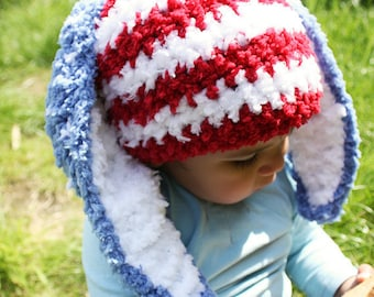 SALE 3 to 6m July 4th Baby Red White Blue Bunny Hat Baby Patriotic USA Hat - Crochet Baby Hat Stars and Stripes Beanie Bunny Ears Easter