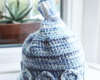 SALE 0 to 3m Newborn Elf Baby Knot Hat Blue White Baby Hat Baby Shower Gift Pixie Elf Hat Blue Newborn Hat Infant Photo Prop Labor Day