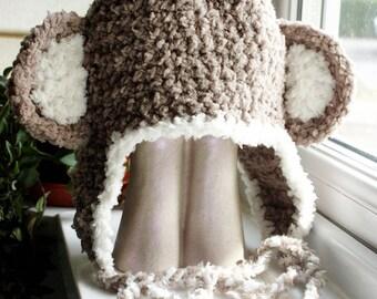 SALE Baby Monkey Hat 3 to 6m Baby Hat Crochet Earflap Hat - Brown Cream Monkey Beanie Monkey Ears Earflap Beanie Baby Prop Photo Prop Gift