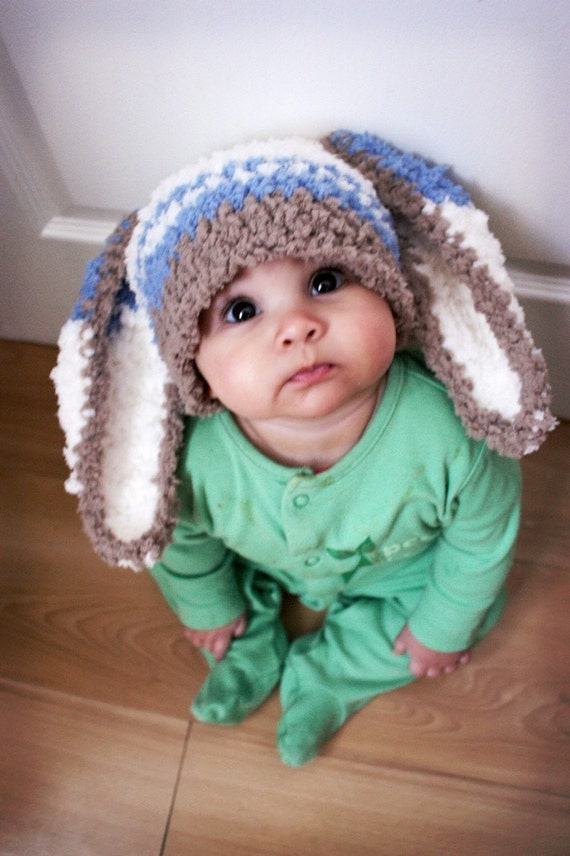 SALE 12 to 24m Baby Hat Bunny Hat Baby Boy Hat Blue Stripe Bunny Beanie, Boy Toddler Hat, Brown Blue Cream Rabbit Baby Prop Christmas Gift
