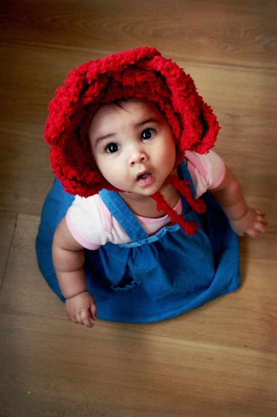 SUMMER SALE 3 to 6m Baby Red Rose Flower Hat Infant Photo Prop Red Baby Bonnet - Alice In Wonderland Rose Flower Bonnet Rose Baby Hat