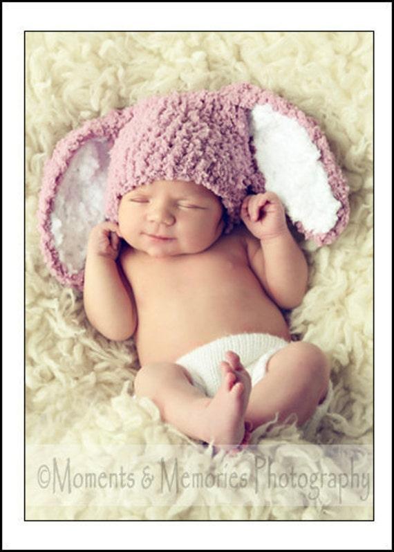 0 to 3m Newborn Baby Hat Easter Bunny Hat, Newborn Girl Bunny Ears Photo Prop, Newborn Hat, Crochet Baby Hat, Plum Bunny Costume Easter