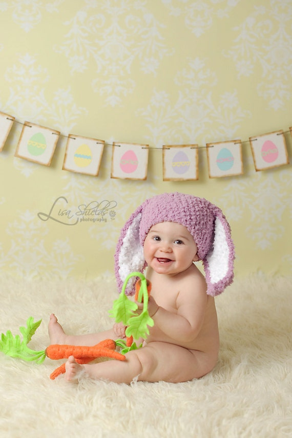 SALE 3 to 6m Baby Hat, Bunny Ears, Baby Girl Hat, Baby Bunny Costume, Crochet Baby Hat, Bunny Hat, Plum Baby Bunny Hat Baby Photo Prop