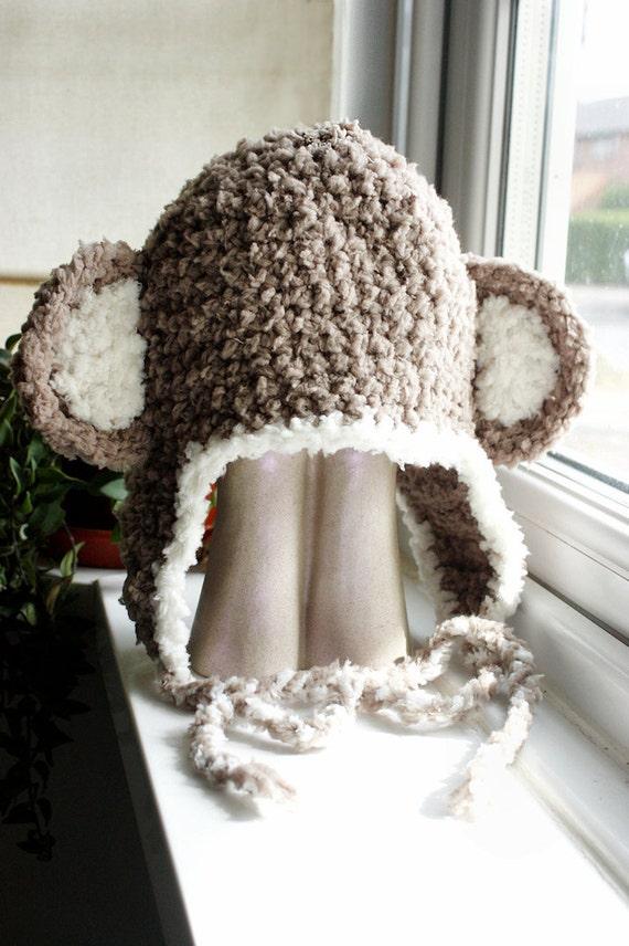 0 to 3m Newborn Monkey Hat Monkey Costume Hat, Brown Cream Earflap Baby Hat Monkey Beanie, Monkey Ears Hat, Monkey Prop Photo Prop Gift