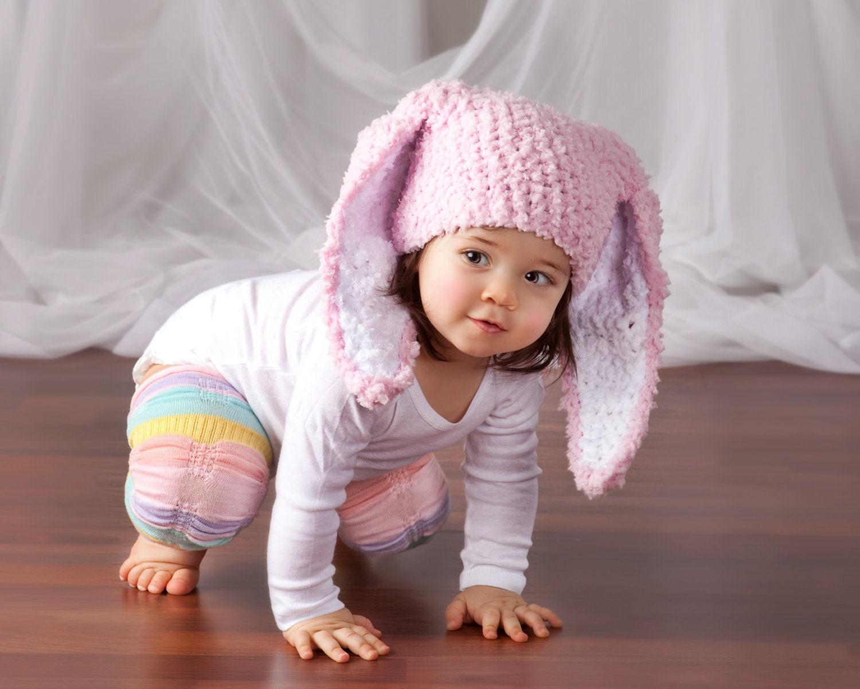 Crochet Bunny Ears Toddler Hat Baby Pink ��zoom
