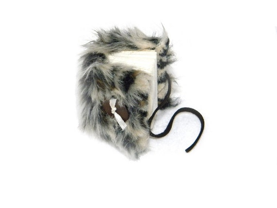 Mini Book Journal - Faux Leopard Fur with Leather Cord Button Closure