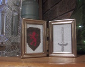 Medieval Cross Stitched Framed Art Shield and Sword Art