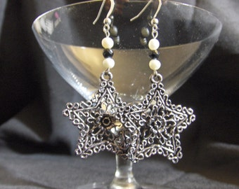 Star Pendant Earrings with Fresh Water Pearls and Black Onyx Accents
