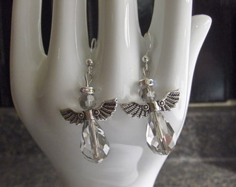 Chinese Crystal - Angel shaped Earrings with crystal halos