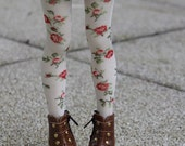 White with printed flowers high stockings for BJD