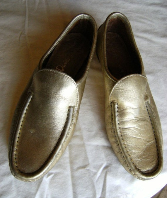 vintage 1960s Daniel Green gold leather driving moccasins/loafers slip-ons soft leather rubber soles 7.5N