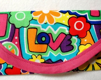 LOVE, Peace sign, Flowers, hearts, 60's & 70's cotton fabric, 8 x 4 Pouch, Toiletry Bag, Travel, Wallet, for Cash, Envelope, Clutch bag