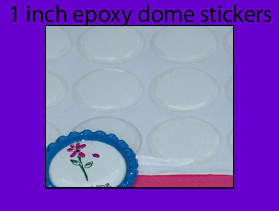 Epoxy domes, stickers, bottle cap domes, dots - 1 inch - Qty 100