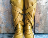 Yellow Moccasin Boot- Leather Wedge