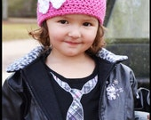 Girls Crochet Beanie Pirate Hat Skull and Crossbones in Pink Black and White, Monster High Beanie