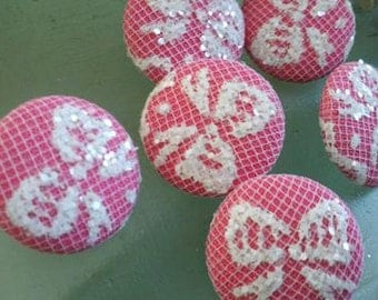12  Pieces  Pink  Fabric Covered  Buttons  with White  Lace  and Glittering  Bow  Pattern