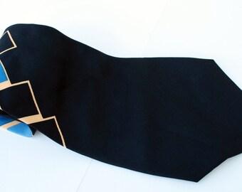 Vintage Silk Neck Tie Men's Gold and Blue Black Diamonds Guys Dudes Accessory