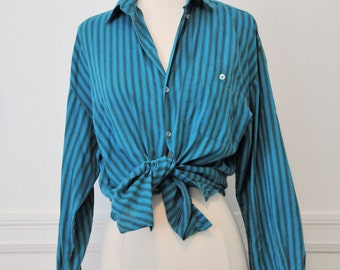 1960s Turquoise Striped Cotton Button-Up Shirt- S Oxford Blue Collared