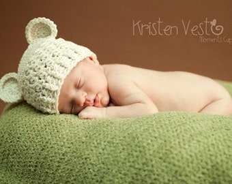 NEWBORN Baby Hat, 0 to 1 Months Baby Boy or Girl Monkey Hat, Baby Crochet Flapper Beanie, Cream with Ears. Great for Photo Shoots.