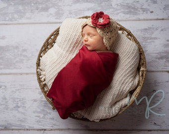 Newborn Baby Girl Hat, 0 to 1 Months Baby Girl Hat,  Baby Flapper Beanie, Beige with Country Red and Cream Flower. Photo Props. Baby Gift.