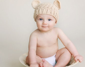 Baby Boy Hat, 0 to 3 Months Baby Boy Teddy Bear Hat, Boy Flapper Beanie, Beige with Ears. Newborn Photo Props. Baby Shower Gift.