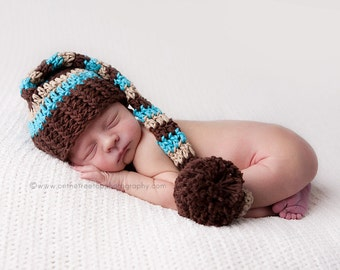 Newborn Stocking Hat, Baby Boy Stocking Hat, Infant Longtale Hat, Boy Elf Hat, Photo Props, Chocolate Brown, Beige, Turquoise, Pom Pom, Kids