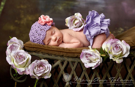 NEWBORN Baby Girl Hat, Baby Girl Beanie, Crochet Flapper Hat, Lavender, Rose and Pink Flower. Professional Photo Props. Baby Gift, Kids.