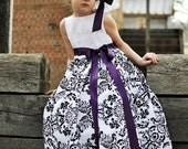 Damask Girls Dress with a touch of lace
