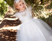 Heavenly  - Flower Girls Dress, Princess Dress, Ostrich Girls Dress,Ivory Girls Dress