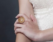 Gift For Women, Cocktail ring,Statement Ring,Bridal Ring , Lace Wedding Ring,Gold Ring ,Gold Ring, Gold Pearl Ring