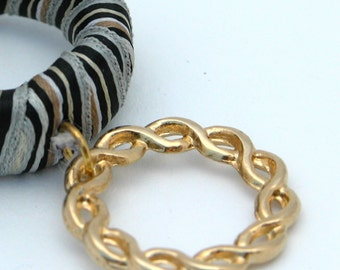 Unique Gift For Her, Satin Fabric Striped Loop 22k Gold Braided Hoop Necklace, Funky Fabric Necklace