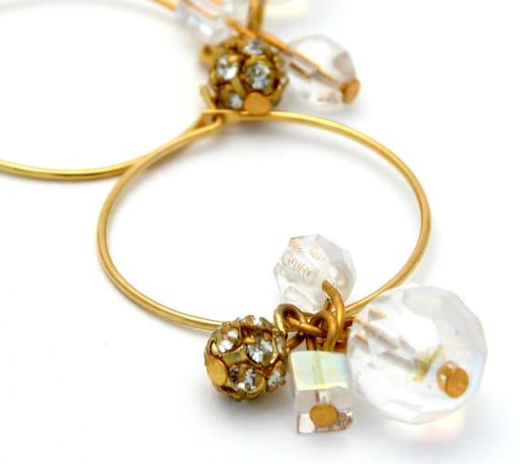 Gift For Women, Hoop Earrings,Beaded gold hoops ,Crystals Bride Earrings, Gold Hoops Earrings with Swarovski crystals