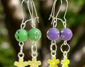 6 STYLES to chose from- Disco Flowers Earrings- beautiful color beads and flowers earrings that a little girl will love