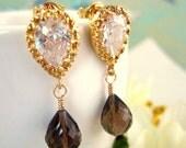 Smokey Quartz Gold Tear Drop Earrings - Brown Crystal Drop Wedding Earrings -Fall Bridesmaid Bohemian Brown Earrings