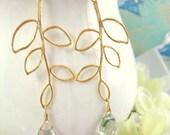 Gold leaf branch green amethyst earrings, fall leaf gold earrings, sage green amethyst leaf earrings, Christmas gift green leaf earrings
