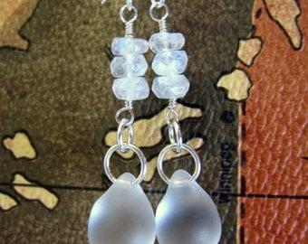 Frosted Czech Glass Tear Drop Silver Earrings, winter frost earrings, frosted white Christmas earrings